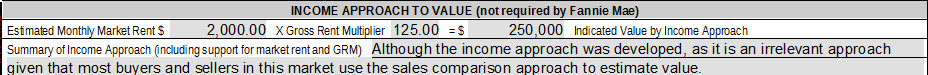 Income approach example from the URAR 1004